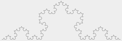 Кривая Коха нарисованая рекурсивным алгоритмом