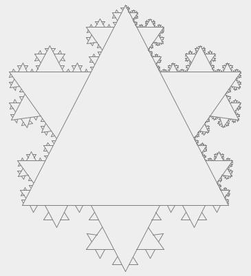 Снежинка Коха из треугольников, разное кол-во итераций на разных сторонах: 3, 4, 5 итераций