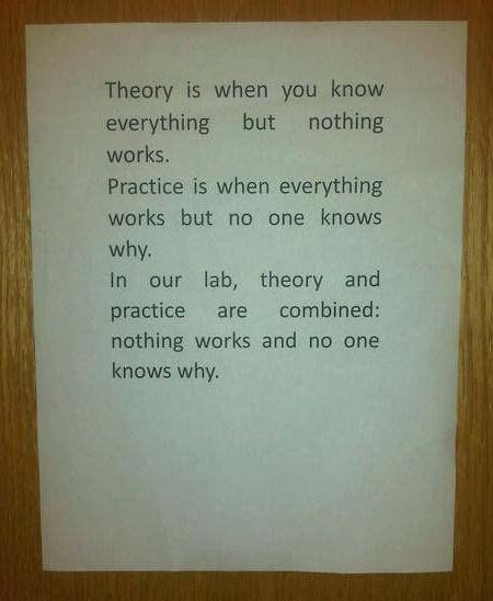 Theory is when you know everything but nothing works. Practice is when everything works but no one knows why. In our lab, theory and practice are combined: nothing works and no one knows why.