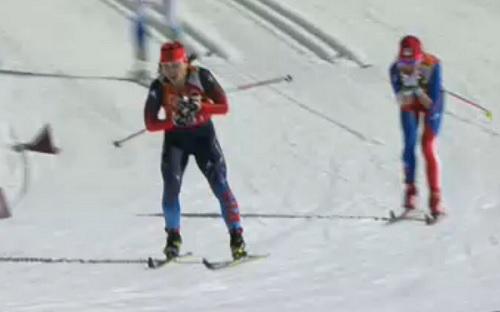 Юлия Иванова - лыжница из Коми занявшая первое место на своем первом этапе в Олимпийской эстафете в Сочи