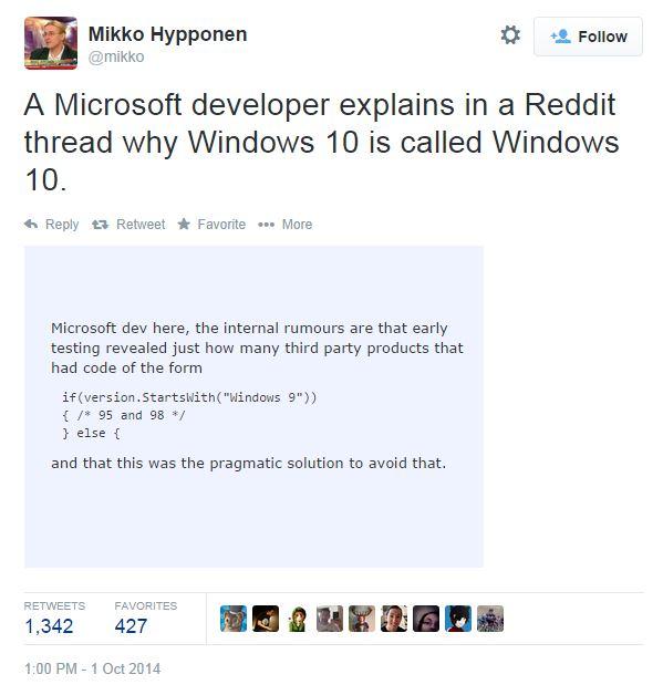Почему Windows пропустил версию 9 - да потому что это привело бы к валу ошибок в старом стороннем софте.